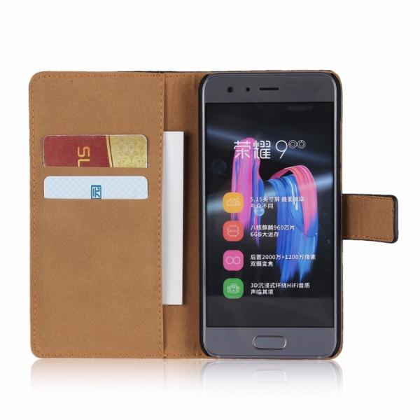 Plånboksfodral Äkta Skinn Huawei Honor 9 - fler färger Rosa
