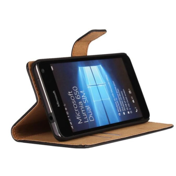 Plånboksfodral Äkta Skinn Microsoft Lumia 650 - fler färger Svart
