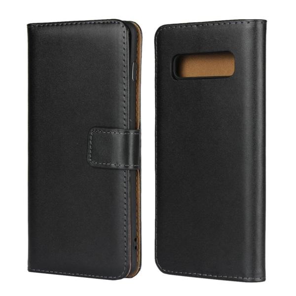 Plånboksfodral Äkta Skinn Samsung S10 PLUS - fler färger Svart