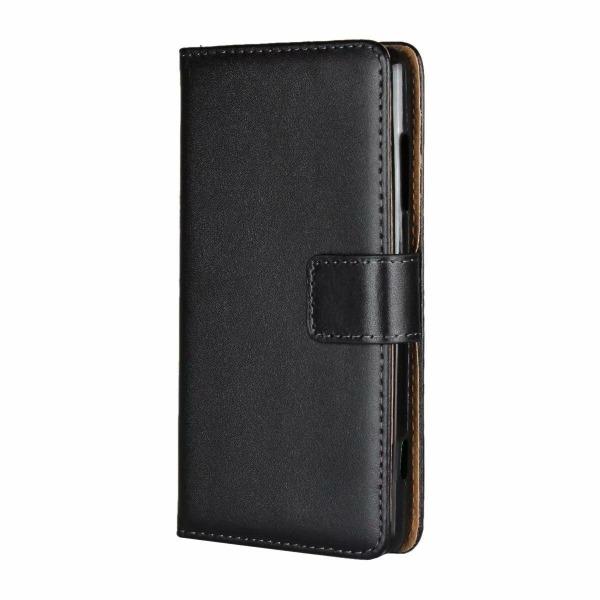 Plånboksfodral Äkta Skinn Xiaomi Redmi Note 9 - fler färger Svart