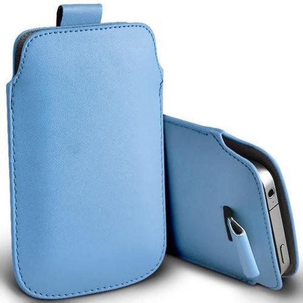 Pull tab / Läderficka - Passar iPhone 5/5S/5C/SE - fler färger Ljusblå