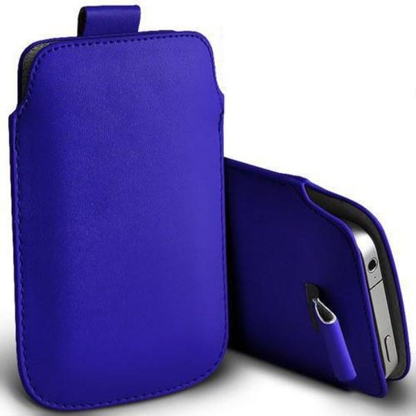 Pull tab / Läderficka - Passar iPhone 5/5S/5C/SE - fler färger Mörkblå