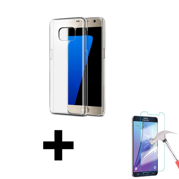 Silikon Skal Transparent + Härdat glas Samsung Galaxy S7 Transparent