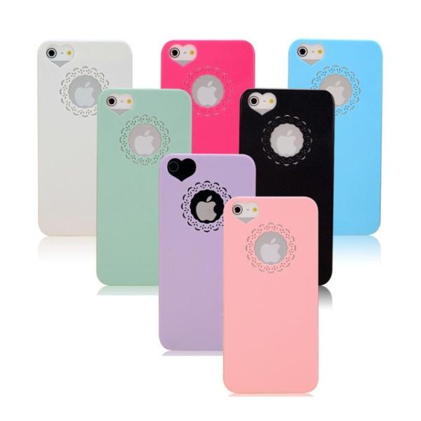 Skal till iPhone 5/5S/SE med hjärtformade kamerahål - fler färge Svart