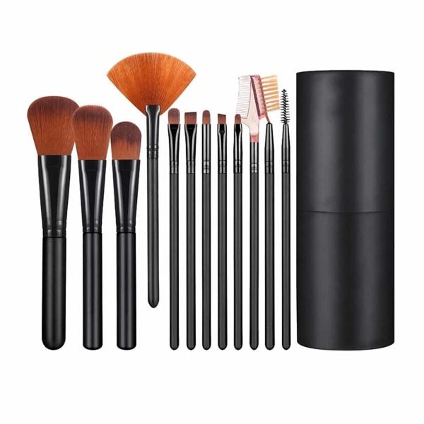 12-pack Professionella Sminkborstar Set Make-up Borstar svart