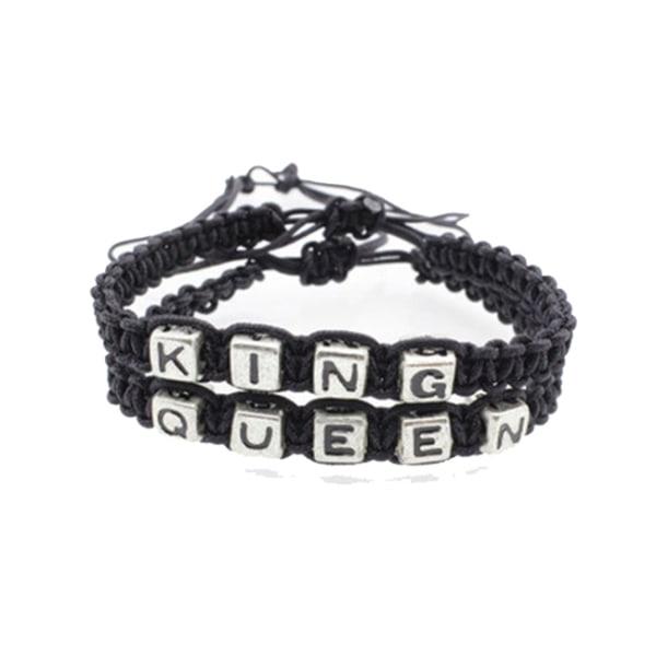 2-pack King & Queen, Gulliga Armband för Par! svart