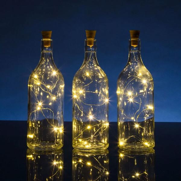 2-pack LED Flasklampa med Solcell - Ljusslinga för Flaskor gul