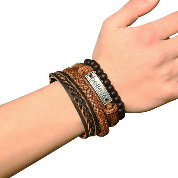 4-pack Handgjorda Läderarmband Herrarmband Skinn Läder Rep brun