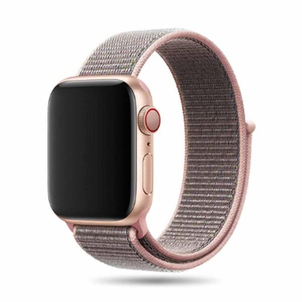 Apple Watch 42/44 Nylonarmband Rosa Sand Sportloop Kardborreband rosa
