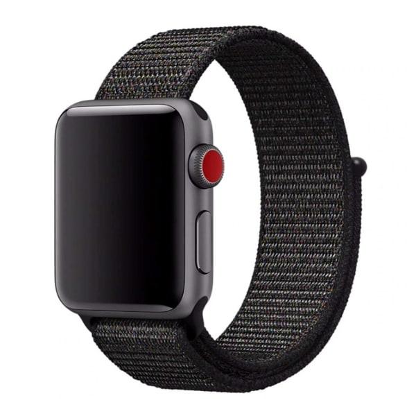 Apple Watch 42/44 Nylonarmband Svart Sportloop Kardborreband svart