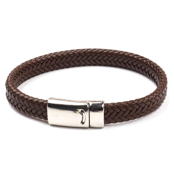 Brunt Handgjort Läderarmband Herrarmband Metallspänne brun