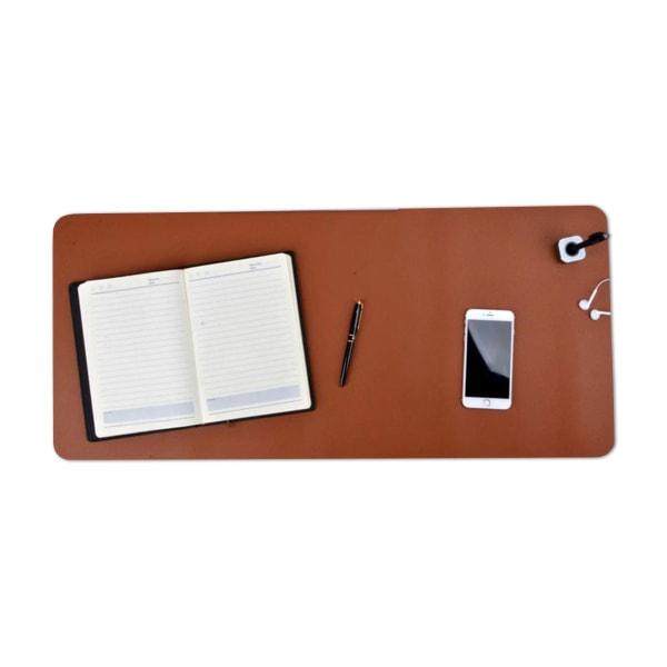 Brunt Skrivbordsunderlägg 80x40cm Skinn Läder brun