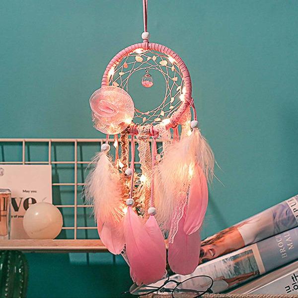 Drömfångare med Lampor Lyse Rosa Fjädrar 40cm rosa