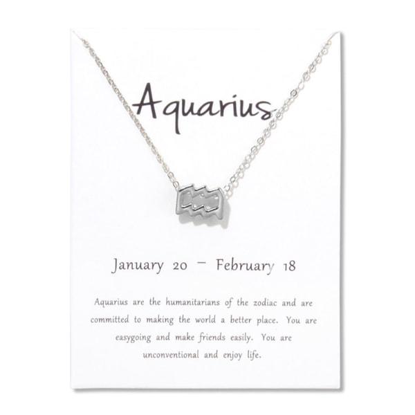 Gåvohalsband Stjärntecken Vattumannen Aquarius Halsband silver