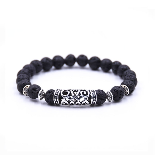 Handgjort Armband Svart Lavasten och Silver Buddhism silver