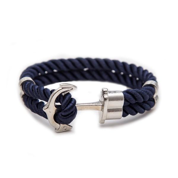 Handgjort Läderarmband Mörkblått Rep Ankare i Silver silver