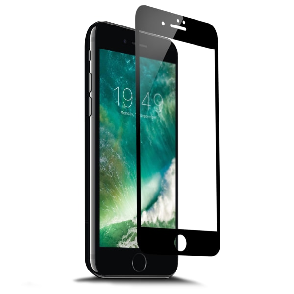 iPhone 7 Plus HD Skärmskydd Kolfiber Härdat Glas Svart svart