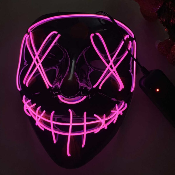 Lysande LED Mask Ansiktsmask Halloween Maskerad The Purge svart
