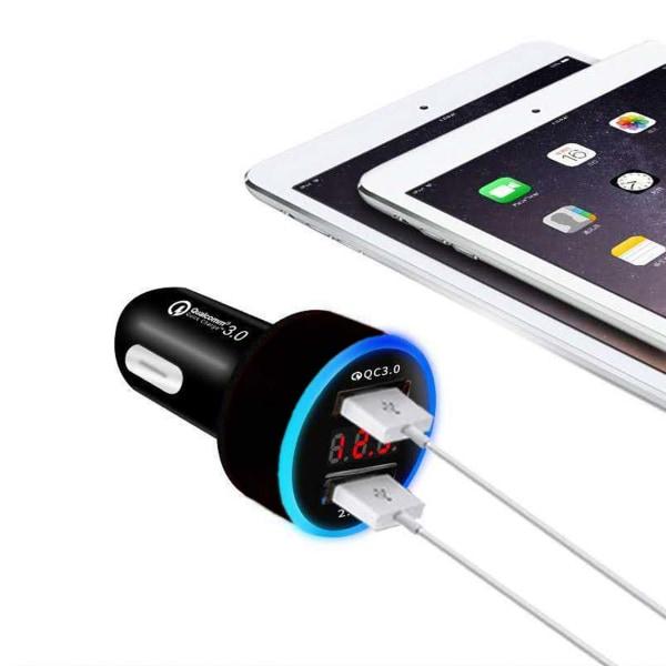 Quick Charge Billaddare Dubbel USB 3.1A Snabbladdare svart