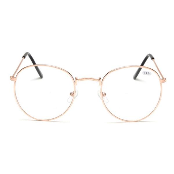 Retro Runda Läsglasögon Glasögon Styrka 1.0 Guld guld