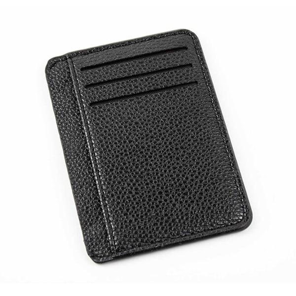 Rymlig Korthållare 9 fack Plånbok Kreditkortshållare Skinn svart
