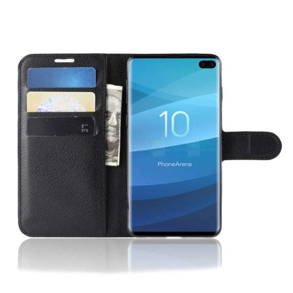 Samsung Galaxy S10 Plus Plånboksfodral Svart Läder Skinn Fodral svart