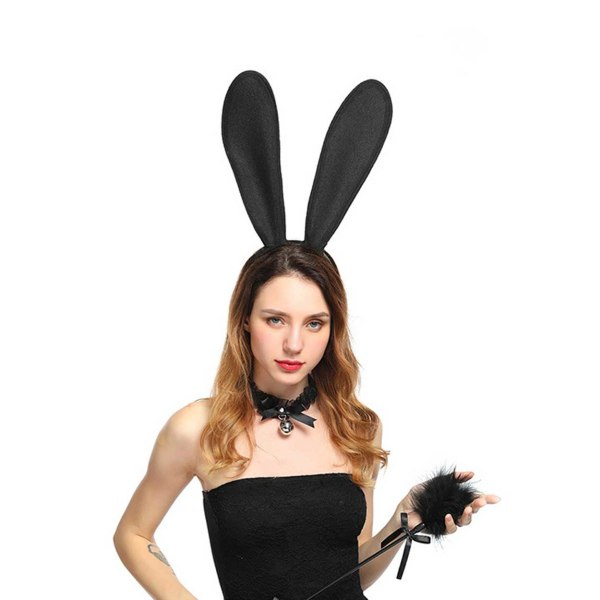 Stora Svarta Böjbara Kaninöron i Tyg Maskerad Utklädnad Bunny svart