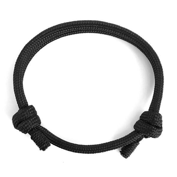 Svart Handgjort Tygarmband Rep Herrarmband Minimal svart