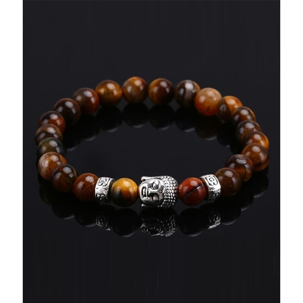 Trendigt Karma Armband Buddha Silver Brun Agatesten silver