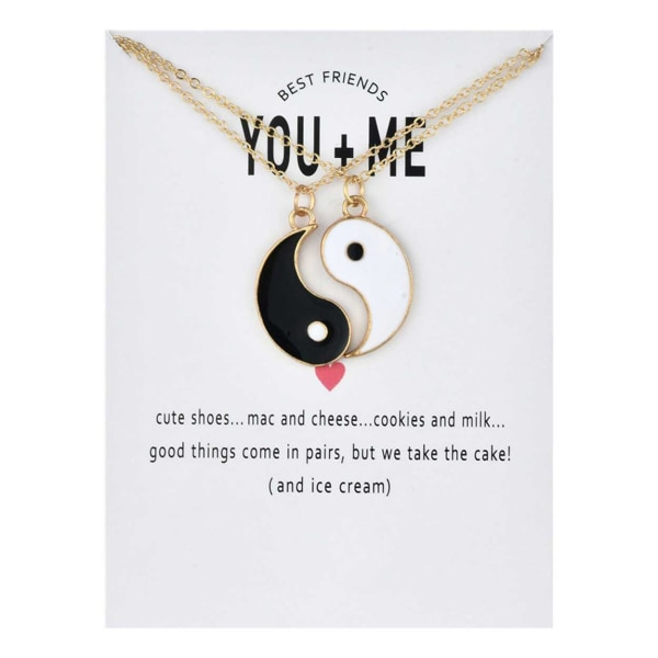 Tvådelat Gåvohalsband Parhalsband Vänskapshalsband Yin Yang flerfärgad
