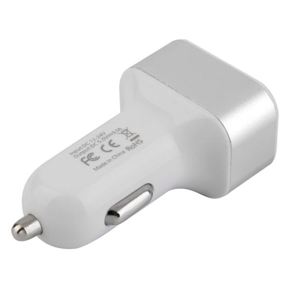 Universal Billaddare med 3 USB 5.1A vit