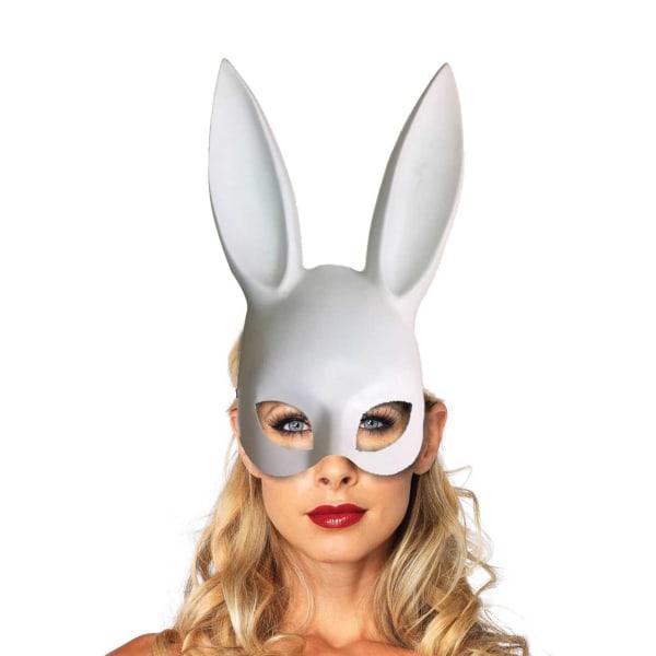 Vit Ögonmask med Kaninöron Maskerad Utklädnad Bunny vit