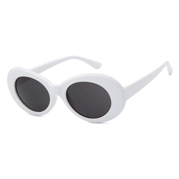 Vita Stora Runda Retro Solglasögon Svart Glas med Senilsnöre vit