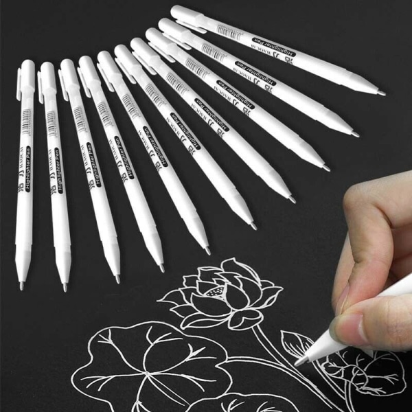1 Vit märkpenna, blackboardpenna med 0.8mm kulspets-udd