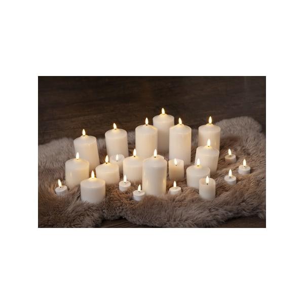 4st Vackra LED Blockljus-KIT i Vax, Flamme 9,5+12+15+17cm, vita