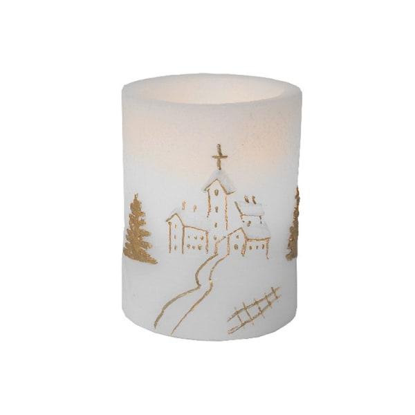 Litet gulligt LED Julljus blockljus med vintermotiv och TIMER