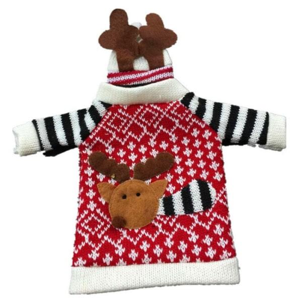 Söt Stickad tröja till Jul- vin- o glöggflaska. Flaskdekorati