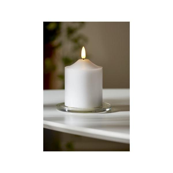 Vackert LED Blockljus i Vax, Flamme 12cm, vitt