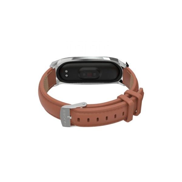 Armband • Xiaomi Mi Band 5 / 6 • Äkta läder • Brun