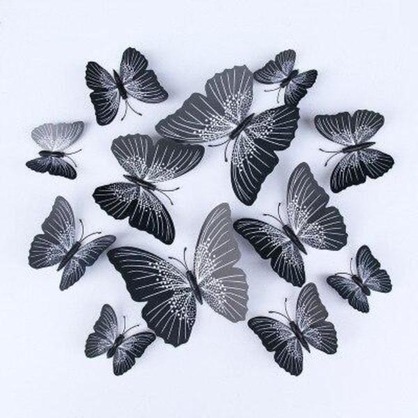 12st 3D Fjäril väggdekal PVC dekoration svart