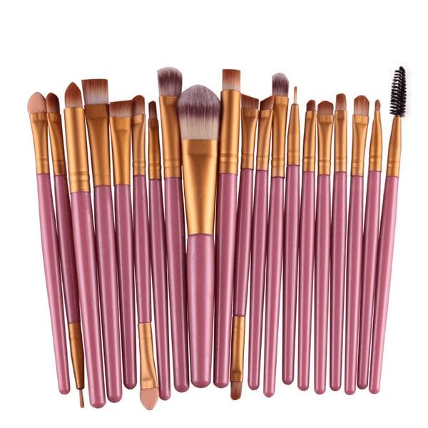 20st komplett set sminkborstar eyeliner foundation borste rosa rosa 17.5cm ~ 19,5 cm