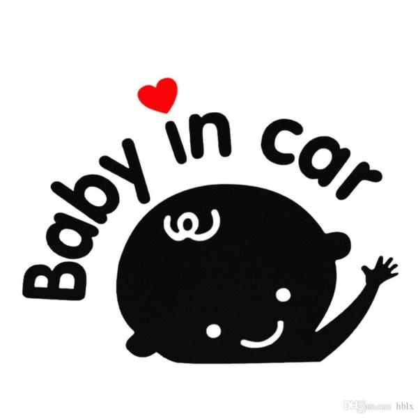 "2st Baby dekal "" Baby in car "" Självhäftande  vit 6,7 × 5,9 cm"