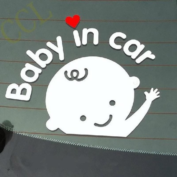 "2st Baby dekal "" Baby in car ""   vit 6,7 × 5,9 cm"