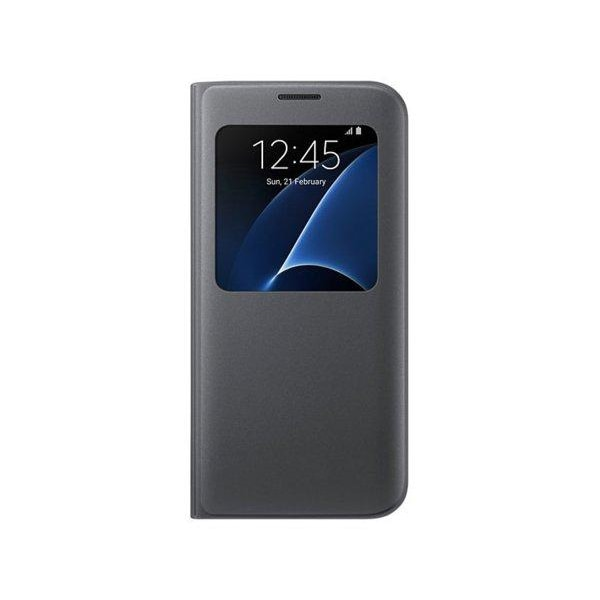 Samsung S7 Flip View läderfodral i Svart l Fönster  svart
