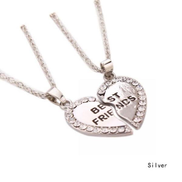 2PCS Bff Necklace Heart Pendants Friendship SILVER