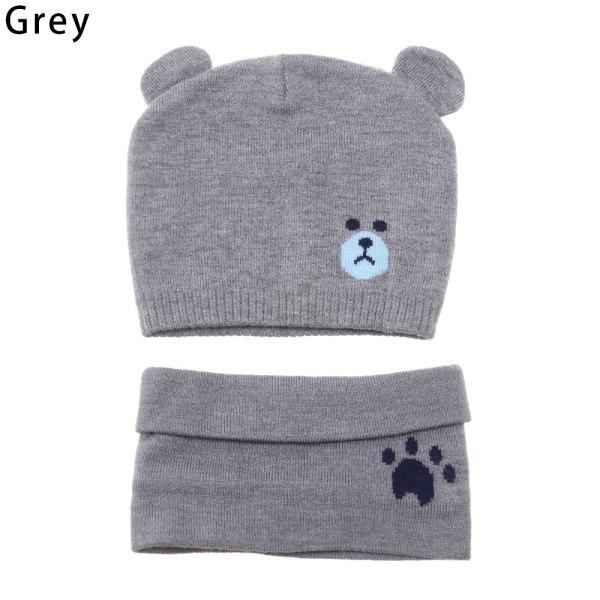 2Pcs Knit Hat Scarf Set Beanie Cap Thick Warm GREY