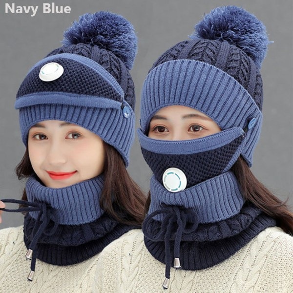 3 Pieces Set Hat Scarf  Set Snow Ski Cap Beanies Hats NAVY BLUE