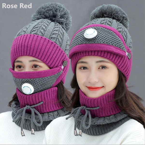 3 Pieces Set Hat Scarf  Set Snow Ski Cap Beanies Hats ROSE RED
