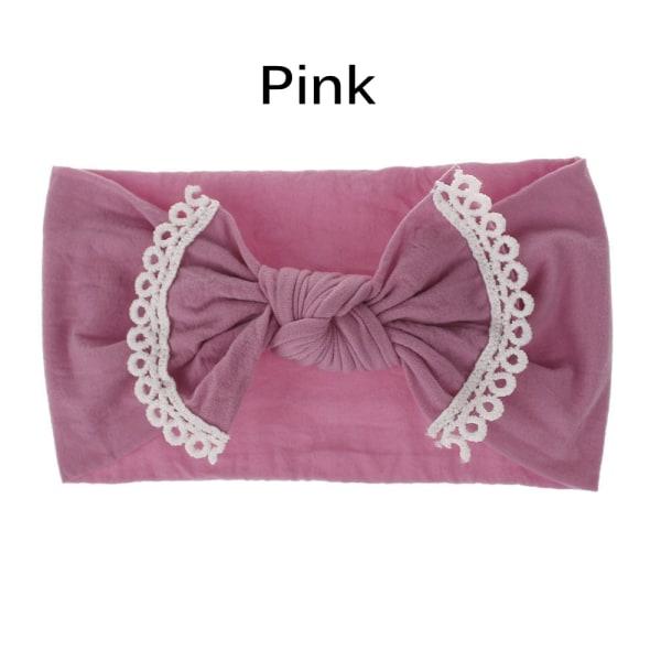 Baby Nylon Headband  Elastic Hair Band Bows Turban PINK pink