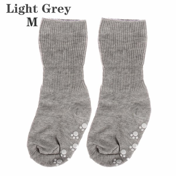 Baby Socks Anti Slip  Candy Color LIGHT GREY M light grey M